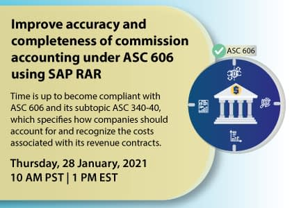 Improve accuracy and completeness of commission accounting under ASC 606 using SAP RAR